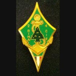 2° RIMA : insigne métallique de la 4° compagnie au Liban FMSB du 2° régiment d'infanterie de marine RIMA de fabrication Fraisse