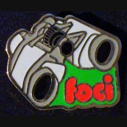Pin's FOCI : pin's FOCI jumelles 4 cm x 3,2 cm de fabrication Loco Motiv