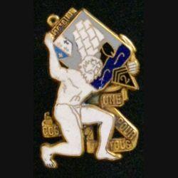 2° RIMA : insigne métallique de la compagnie de commandement et des services CCS du 2° régiment d'infanterie de marine RIMA de fabrication Fraisse