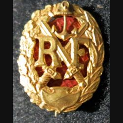 Insigne métallique du brevet de chef de section coloniale  fond rouge 27 mm