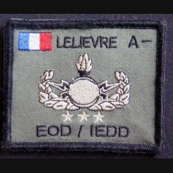 EOD IEDD : insigne tissu de démineur français du nom de A. Lelièvre