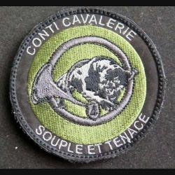 1° RH : insigne tissu du 4° escadron du 1° régiment de chasseurs Conti Cavalerie Souple et tenace de diamètre 8 cm