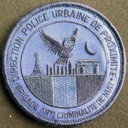 BAC : Insigne tissu de la direction de la police urbaine de proximité brigade anti criminalité de nuit de diamètre 9 cm bleu nuit