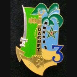 21° & 3° RIMA RICM : insigne métallique des 21° et 3° régiments d'infanterie de marine et du régiment d'infanterie et chars de marine opération Daguet de fabrication FIA numéroté