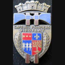 POMPIERS : insigne métallique des pompiers de Viroflay de fabrication Ballard sur son cuir (1)