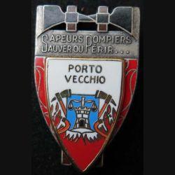POMPIERS : insigne métallique des pompiers de Porto Vecchio de fabrication Ballard sur son cuir (3)