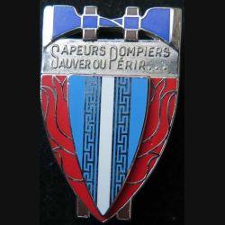 POMPIERS : insigne métallique des pompiers de la Haute Marne de fabrication Ballard sur son cuir (3)