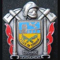 POMPIERS : insigne métallique des pompiers de Trignac de fabrication Ballard sur son cuir (4)