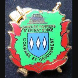 POMPIERS : insigne métallique des pompiers d'Epinay Sur Orge de fabrication Ballard sur son cuir hache dorée(5)