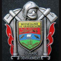 POMPIERS : insigne métallique des pompiers de Notre Dame de Gravenchon de fabrication Ballard sur son cuir (5)