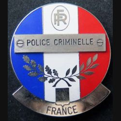POLICE : plaque métallique de la police criminelle de fabrication Made in France sur son cuir (6)