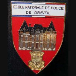 POLICE : insigne métallique de l'école nationale de police de Draveil fond rouge de fabrication Ballard (6)