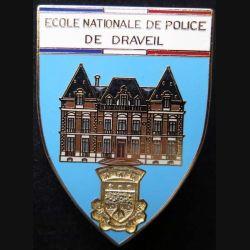 POLICE : insigne métallique de l'école nationale de police de Draveil fond bleu de fabrication Ballard (6)