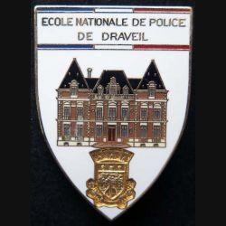 POLICE : insigne métallique de l'école nationale de police de Draveil fond blanc de fabrication Ballard (6)