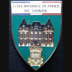 POLICE : insigne métallique de l'école nationale de police de Draveil fond vert de fabrication Ballard (6)