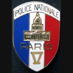 POLICE : insigne métallique de la police nationale de Paris V de fabrication Ballard (6)