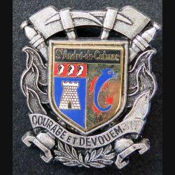 POMPIERS : insigne métallique des pompiers de Saint André de Cubzac de fabrication Ballard sur son cuir (8)