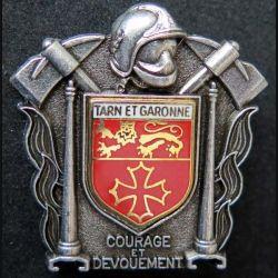 POMPIERS : insigne métallique des pompiers de Tarn et Garonne de fabrication Ballard sur son cuir (8)