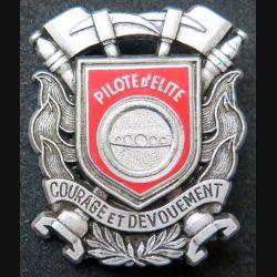 POMPIERS : insigne métallique de pilote d'élite des sapeurs pompiers de fabrication Ballard sur son cuir (8)