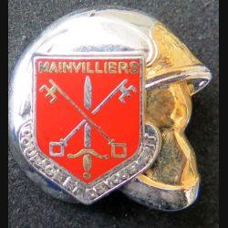 POMPIERS : insigne métallique des pompiers de Mainvilliers de fabrication Ballard sur son cuir (9)