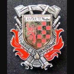 POMPIERS : insigne métallique des pompiers de La Voulte Sur Rhône de fabrication Ballard sur son cuir (10)