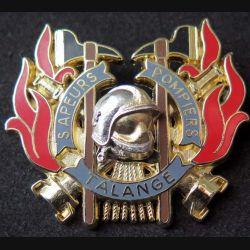 POMPIERS : insigne métallique des pompiers de Talange de fabrication Ballard sur son cuir (11)