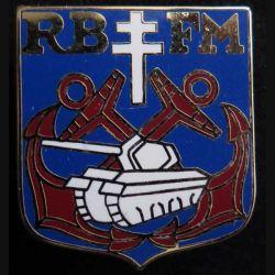 RBFM : insigne métallique du régiment blindé de fusiliers marins de fabrication Ballard retirage  non marqué