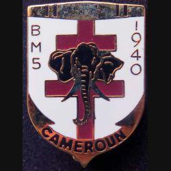 BM 5 : insigne métallique du bataillon de marche n°5 au Cameroun de la 1° DFL division française libre de fabrication Ballard retirage
