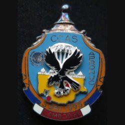 1° RCP : insigne métallique de la compagnie de commandement d'appui et de soutien CCAS du 1° régiment de chasseurs parachutistes au Cambodge APRONUC de fabrication Ballard finition argent avec poinçon (13)