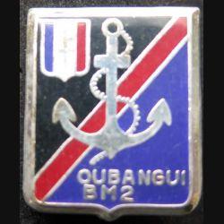 BM 2 : insigne métallique du bataillon de marche n°2 en Oubangui de fabrication Ballard retirage
