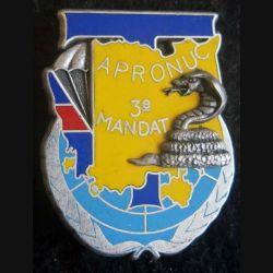 14° RPCS : insigne métallique de la compagnie des transmissions du 14° Régiment parachutiste de commandement et de soutien APRONUC Cambodge 3° mandat de fabrication Ballard Combs la Ville