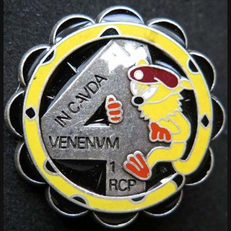 1° RCP : insigne métallique de la 4° compagnie du 1° régiment de chasseurs parachutistes marsupilami de fabrication Ballard