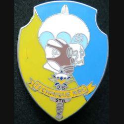 1° RCP : insigne de la section Technique NBC nucléaire biologique et chimique du 1° régiment de chasseurs parachutistes de fabrication Ballard finition argent avec poinçon