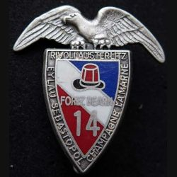 14° RPCS : insigne métallique du 14° régiment parachutiste de commandement et de soutien de fabrication Ballard