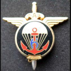 6° RPIMA : insigne métallique du 6° régiment parachutiste d'infanterie de marine de fabrication Ballard H. 721 modèle doré