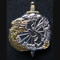 1° RCP : insigne métallique du 1° régiment de chasseurs parachutistes RCP détachement para Hanoi 1991 de fabrication Ballard argenté et doré