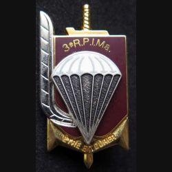 3° RPIMA : insigne métallique du 3° régiment parachutiste d'infanterie de marine de fabrication Ballard G. 445 relief