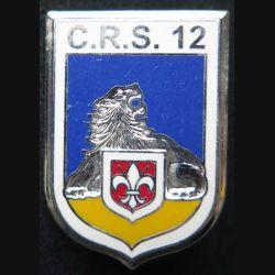 CRS 12 : insigne métallique de la compagnie républicaine de sécurité n° 12 de fabrication Ballard