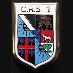 CRS 1 : insigne métallique de la compagnie républicaine de sécurité n° 1 de fabrication Ballard