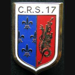 CRS 17 : insigne métallique de la compagnie républicaine de sécurité n° 17 de fabrication Ballard