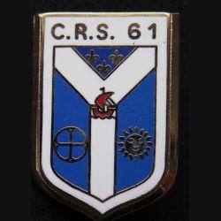 CRS 61 : insigne métallique de la compagnie républicaine de sécurité n° 61 de fabrication Ballard