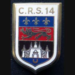 CRS 14 : insigne de la compagnie républicaine de sécurité n° 14 de fabrication Ballard