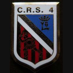 CRS 4 : insigne métallique de la compagnie républicaine de sécurité n° 4 de fabrication Ballard