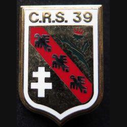 CRS 39 : insigne métallique de la compagnie républicaine de sécurité n° 39 de fabrication Ballard