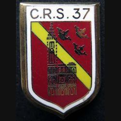 CRS 37 : insigne métallique de la compagnie républicaine de sécurité n° 37 de fabrication Ballard