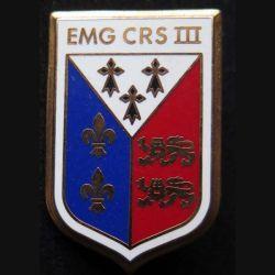 EMG CRS III : insigne métallique de l'EMG de la compagnie républicaine de sécurité n° III de fabrication Ballard