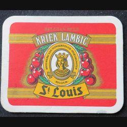 DESSOUS DE VERRE A BIÈRE : Dessous de verre à bière Kriek Lambic St Louis de dimension 7,8 x 9,9 cm