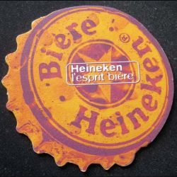 DESSOUS DE VERRE A BIÈRE : Dessous de verre à bière Heineken l'esprit bière de diamètre 12,5 cm