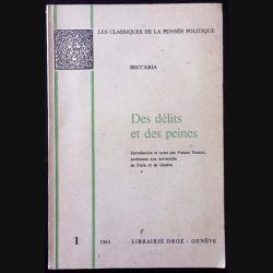 1. Des délits et des peines de Cesare Beccaria aux éditions Librairie Droz 1965