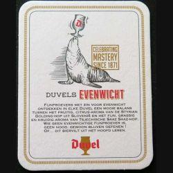 DESSOUS DE VERRE A BIÈRE : Dessous de verre à bière Duvel Duvelse Evenwicht de dimension 9 x 11,5 cm